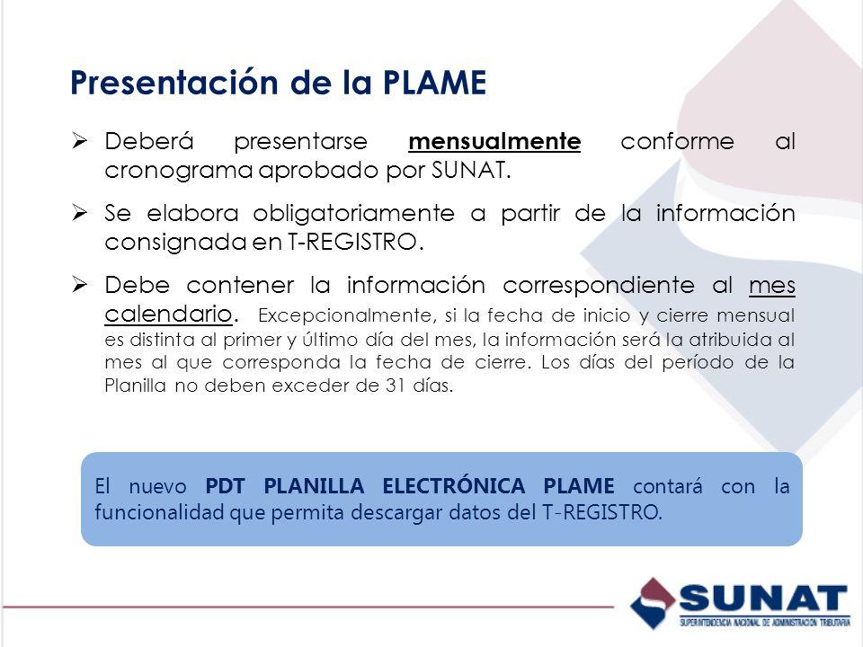 Presentación de la PLAME Deberá presentarse mensualmente conforme al cronograma aprobado por SUNAT.