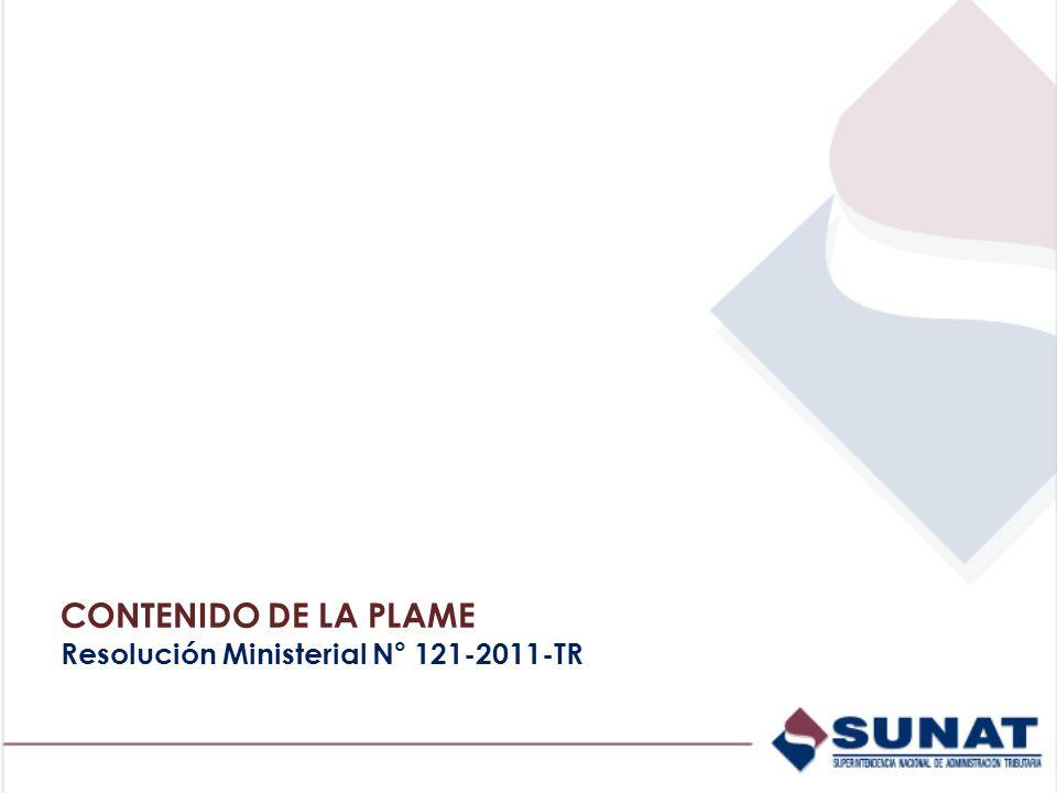 CONTENIDO DE LA PLAME Resolución Ministerial N° 121-2011-TR