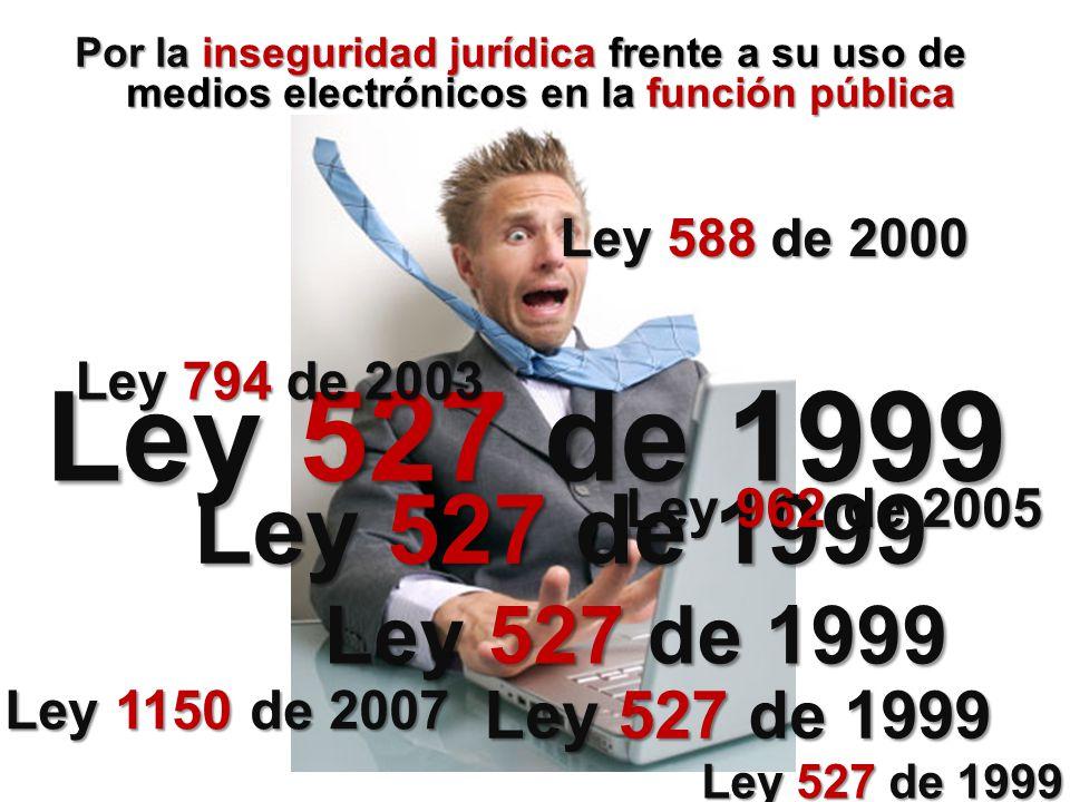 Por la inseguridad jurídica frente a su uso de medios electrónicos en la función pública Ley 527 de 1999 Ley 588 de 2000 Ley 794 de 2003 Ley 527 de 19