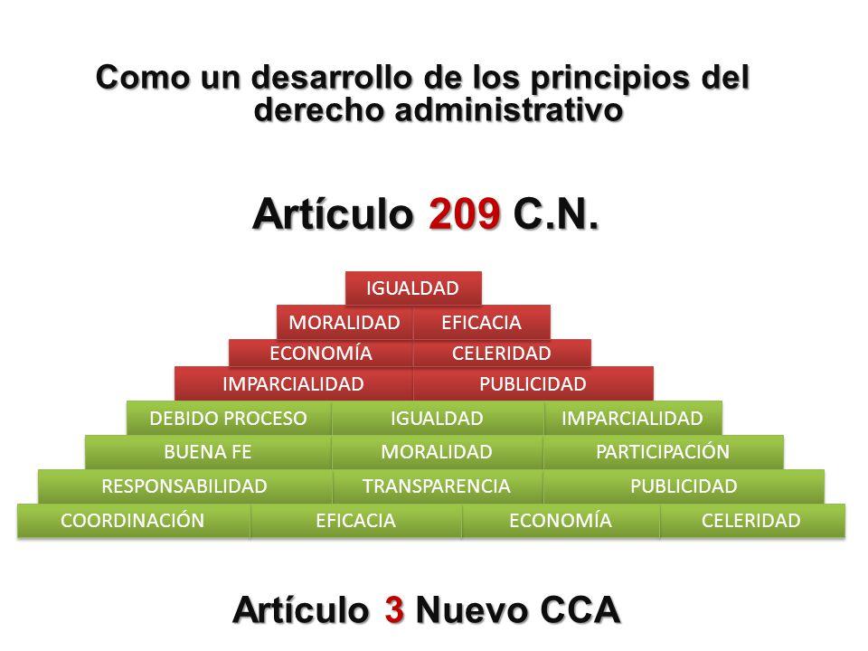 Como un desarrollo de los principios del derecho administrativo IMPARCIALIDAD PUBLICIDAD ECONOMÍA CELERIDAD MORALIDAD EFICACIA IGUALDAD DEBIDO PROCESO