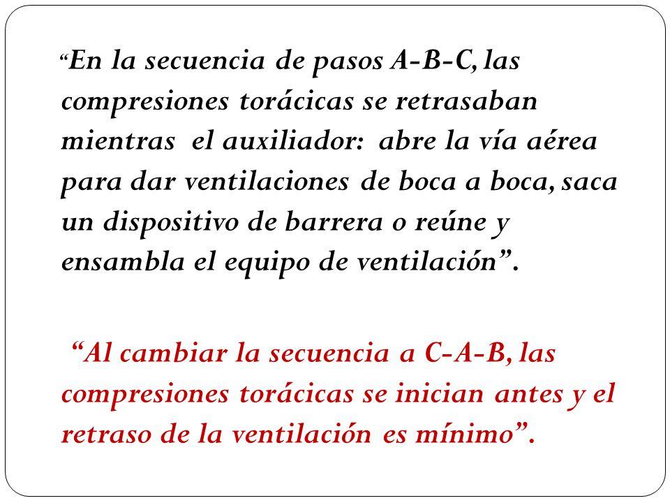 En la secuencia de pasos A-B-C, las compresiones torácicas se retrasaban mientras el auxiliador: abre la vía aérea para dar ventilaciones de boca a boca, saca un dispositivo de barrera o reúne y ensambla el equipo de ventilación.