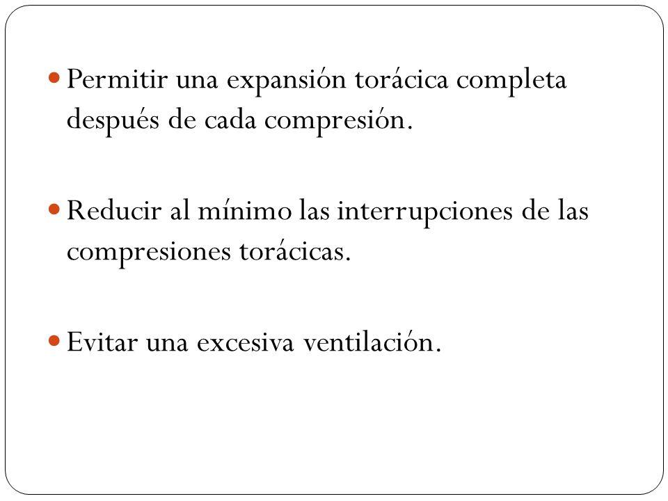 Permitir una expansión torácica completa después de cada compresión. Reducir al mínimo las interrupciones de las compresiones torácicas. Evitar una ex