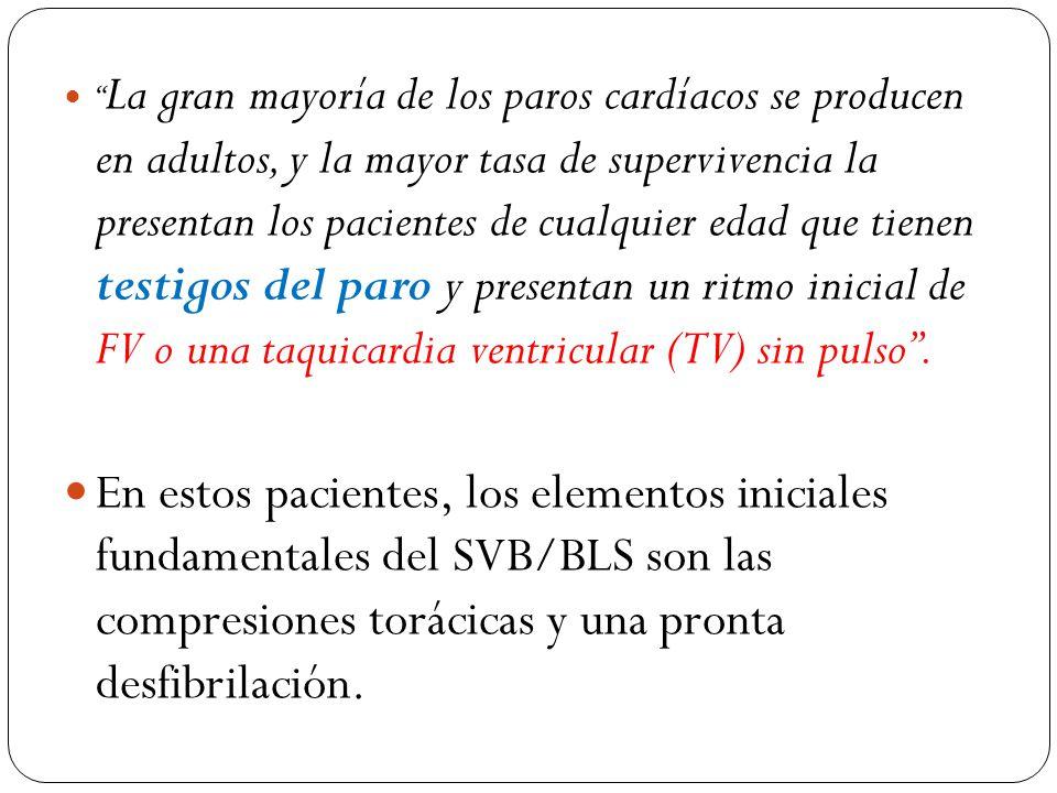 (EXCEPTO EN NEONATOS) COMPRESIONES CON UNA PROFUNDIDAD DE AL MENOS 5 CM EN ADULTOS.