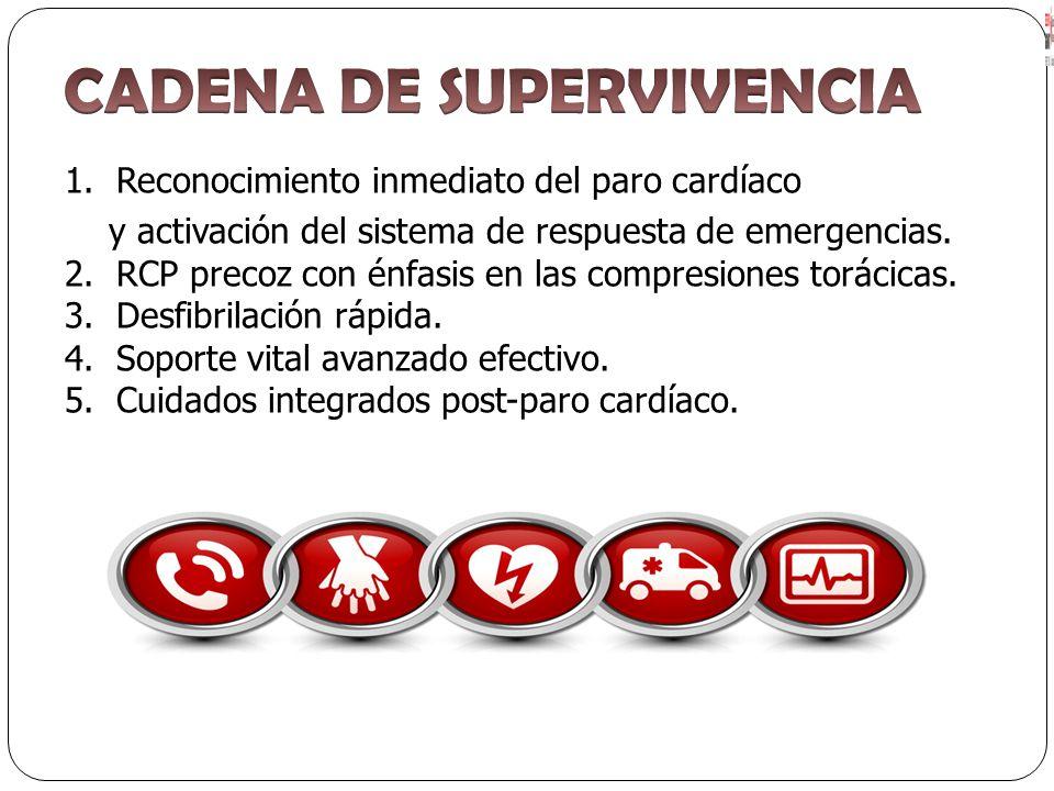 1. Reconocimiento inmediato del paro cardíaco y activación del sistema de respuesta de emergencias. 2. RCP precoz con énfasis en las compresiones torá