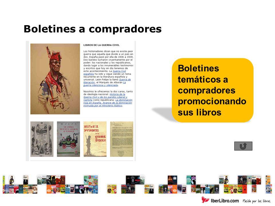 Boletines a compradores Boletines temáticos a compradores promocionando sus libros