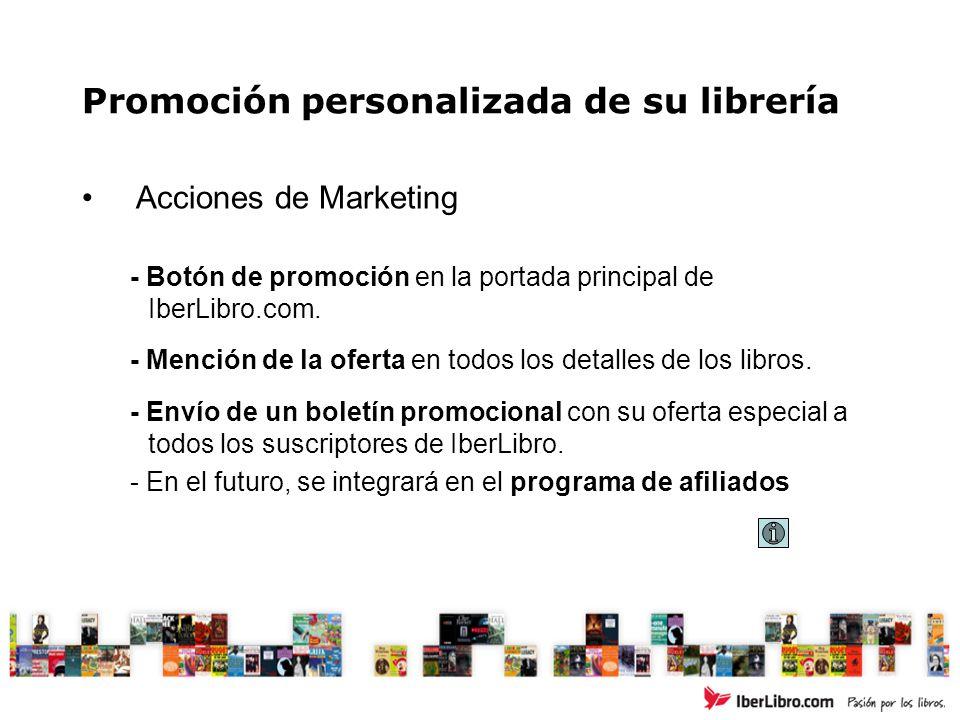 Promoción personalizada de su librería Acciones de Marketing - Botón de promoción en la portada principal de IberLibro.com.