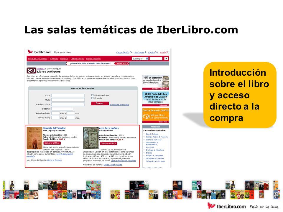 Las salas temáticas de IberLibro.com Introducción sobre el libro y acceso directo a la compra