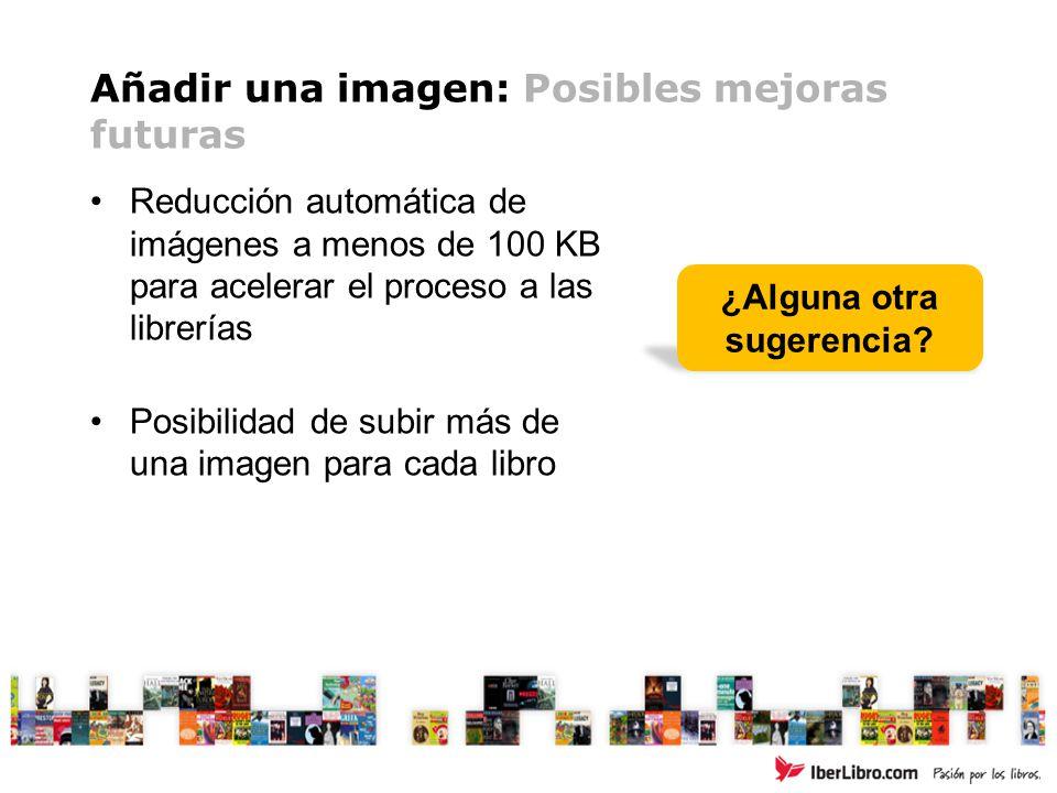 Añadir una imagen: Posibles mejoras futuras Reducción automática de imágenes a menos de 100 KB para acelerar el proceso a las librerías Posibilidad de