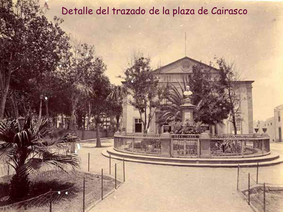 Detalles del jardín y decoración que rodea al busto de Cairasco