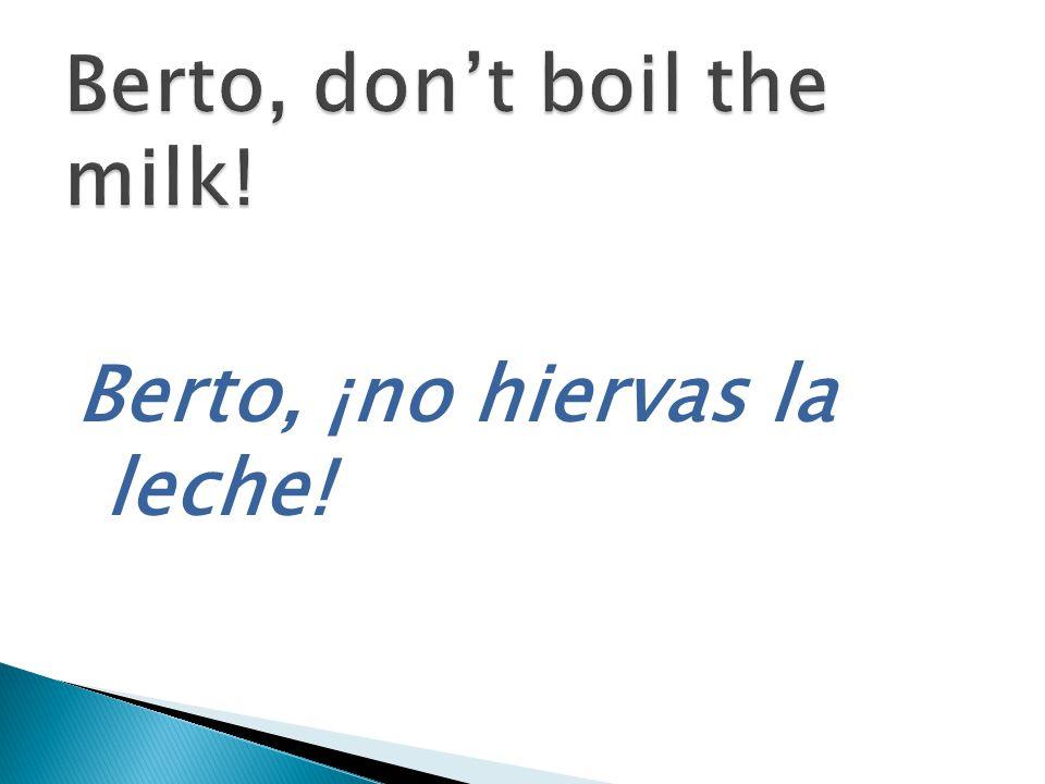 Berto, ¡no hiervas la leche!
