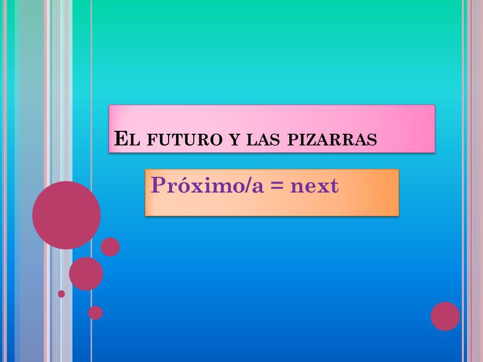 E L FUTURO Y LAS PIZARRAS Próximo/a = next