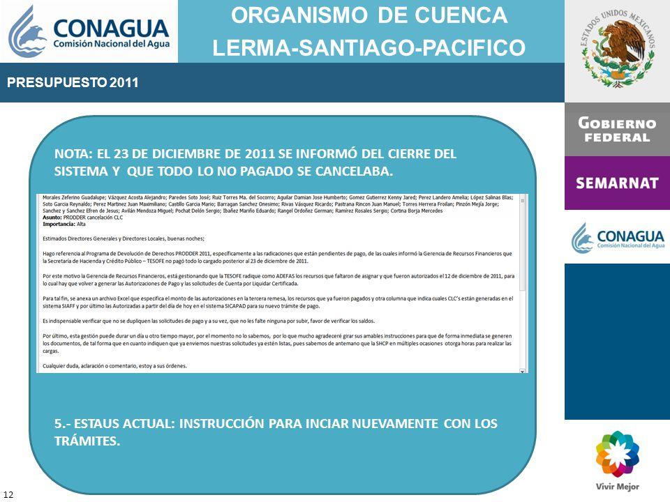 PRESUPUESTO 2011 ORGANISMO DE CUENCA LERMA-SANTIAGO-PACIFICO 12 NOTA: EL 23 DE DICIEMBRE DE 2011 SE INFORMÓ DEL CIERRE DEL SISTEMA Y QUE TODO LO NO PAGADO SE CANCELABA.
