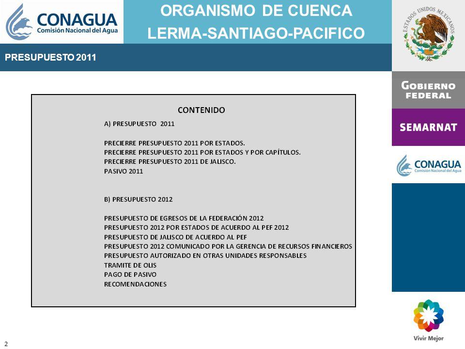 PRESUPUESTO 2011 ORGANISMO DE CUENCA LERMA-SANTIAGO-PACIFICO 2