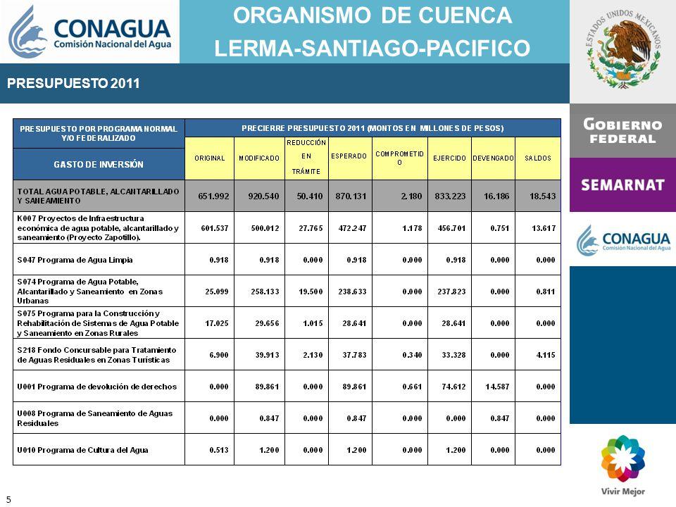 PRESUPUESTO 2011 ORGANISMO DE CUENCA LERMA-SANTIAGO-PACIFICO 16 FUENTE: PRESUPUESTO DE EGRESOS DE LA FEDERACIÓN PARA EL EJERCICIO FISCAL 2012 TEXTO VIGENTE (a partir del 01-01-2012) Nuevo Presupuesto publicado en el Diario Oficial de la Federación el 12 de diciembre de 2011 PRESUPUESTO 2012