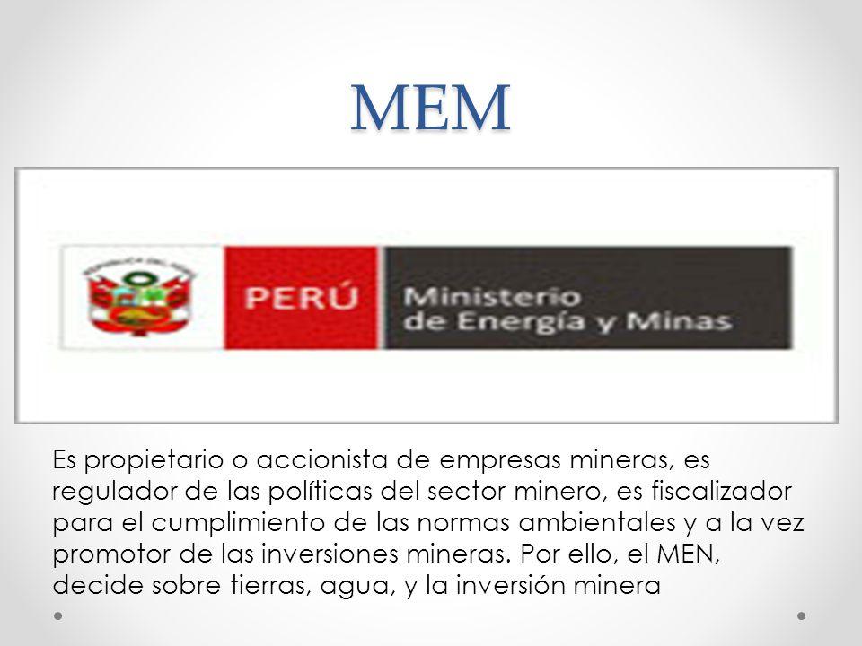 MEM Es propietario o accionista de empresas mineras, es regulador de las políticas del sector minero, es fiscalizador para el cumplimiento de las normas ambientales y a la vez promotor de las inversiones mineras.