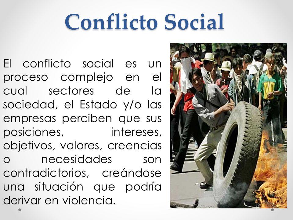 Conflicto Social El conflicto social es un proceso complejo en el cual sectores de la sociedad, el Estado y/o las empresas perciben que sus posiciones, intereses, objetivos, valores, creencias o necesidades son contradictorios, creándose una situación que podría derivar en violencia.