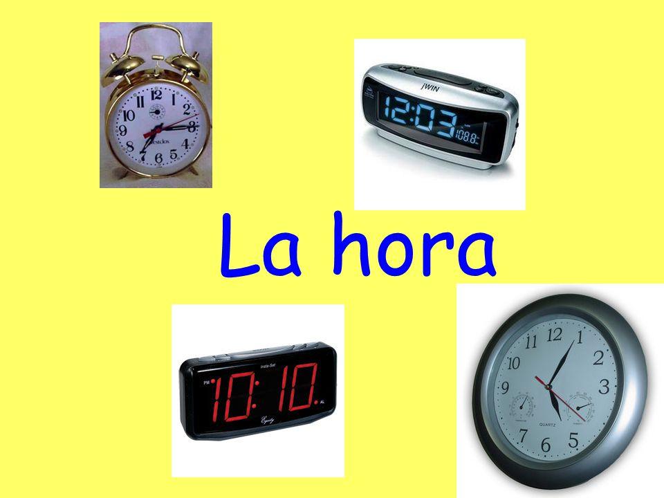 ¿Qué hora es? Son las (hora) y (min). Es la una y (min).