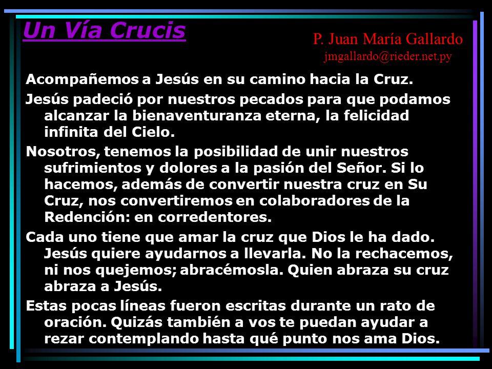 Un Vía Crucis Acompañemos a Jesús en su camino hacia la Cruz. Jesús padeció por nuestros pecados para que podamos alcanzar la bienaventuranza eterna,