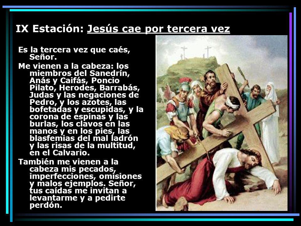 IX Estación: Jesús cae por tercera vez Es la tercera vez que caés, Señor. Me vienen a la cabeza: los miembros del Sanedrín, Anás y Caifás, Poncio Pila