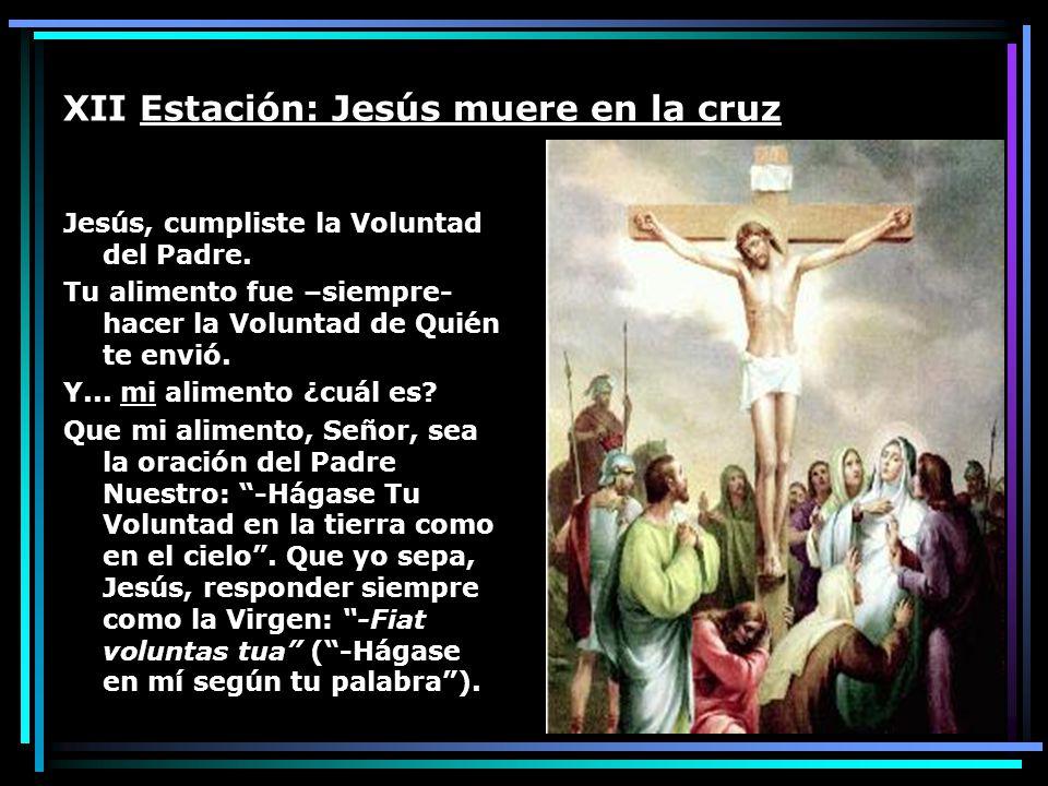 XII Estación: Jesús muere en la cruz Jesús, cumpliste la Voluntad del Padre. Tu alimento fue –siempre- hacer la Voluntad de Quién te envió. Y... mi al
