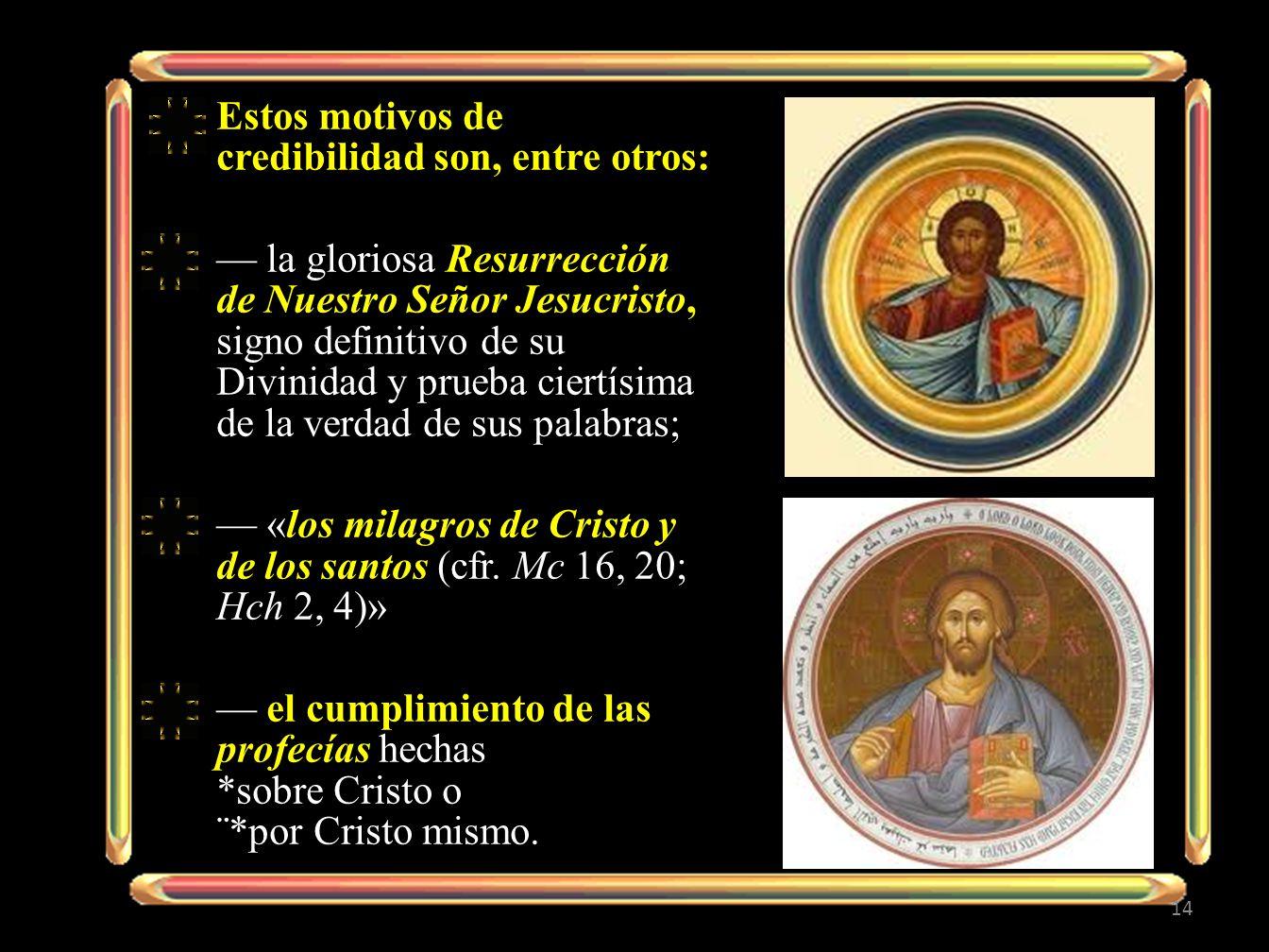 Estos motivos de credibilidad son, entre otros: la gloriosa Resurrección de Nuestro Señor Jesucristo, signo definitivo de su Divinidad y prueba ciertí