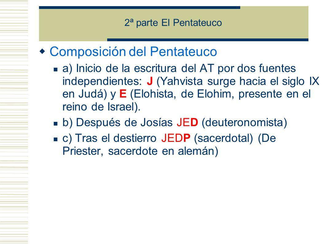 2ª parte El Pentateuco Composición del Pentateuco a) Inicio de la escritura del AT por dos fuentes independientes: J (Yahvista surge hacia el siglo IX en Judá) y E (Elohista, de Elohim, presente en el reino de Israel).