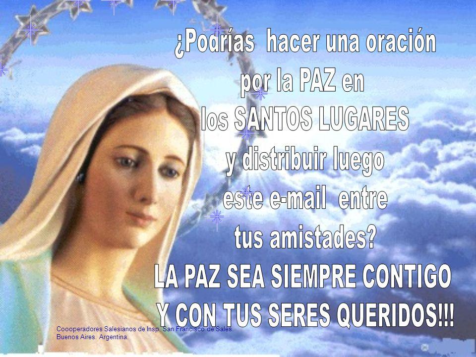 Para que sean respetados los Santos Lugares les sugiero rezar diariamente 7 Padrenuestros 7 Ave Marías, 7 Glorias y Credos. Los israelíes tienen sus t