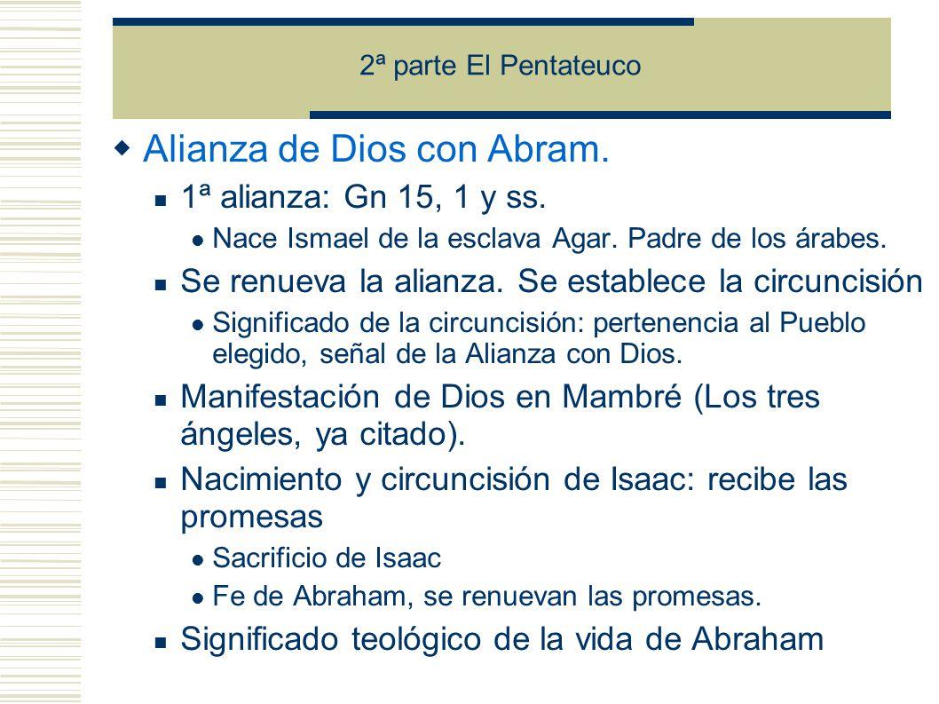 2ª parte El Pentateuco Alianza de Dios con Abram.1ª alianza: Gn 15, 1 y ss.