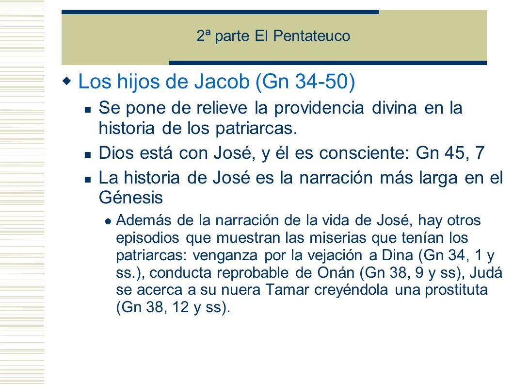 2ª parte El Pentateuco Los hijos de Jacob (Gn 34-50) Se pone de relieve la providencia divina en la historia de los patriarcas.