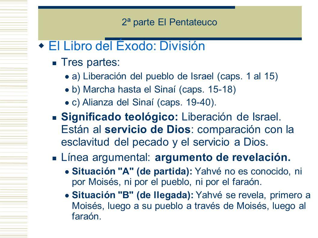 2ª parte El Pentateuco El Libro del Éxodo: División Tres partes: a) Liberación del pueblo de Israel (caps.