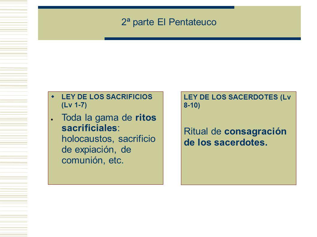 2ª parte El Pentateuco LEY DE LOS SACRIFICIOS (Lv 1-7) Toda la gama de ritos sacrificiales: holocaustos, sacrificio de expiación, de comunión, etc.