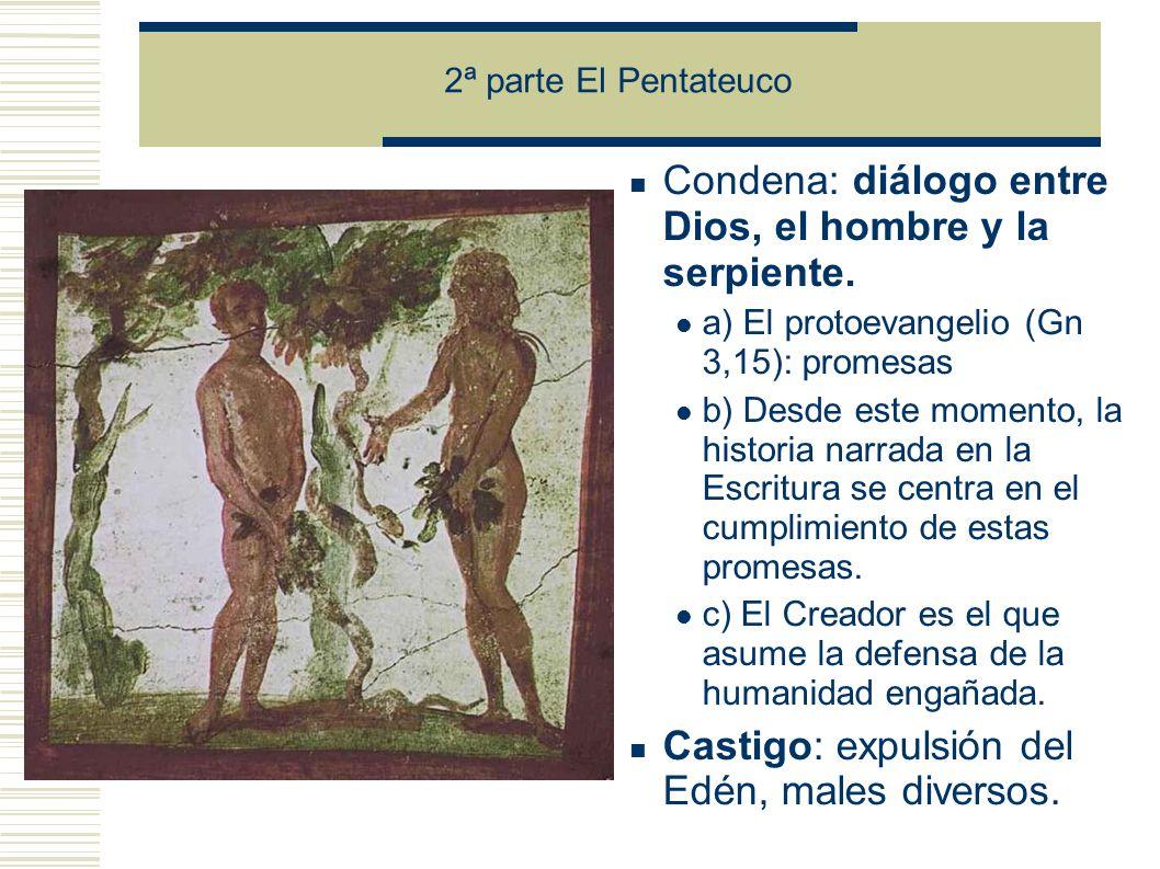 2ª parte El Pentateuco Condena: diálogo entre Dios, el hombre y la serpiente.