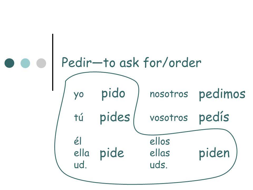 Pedirto ask for/order yonosotros túvosotros élellos ellaellas ud.uds. pido pides pide pedimos pedís piden