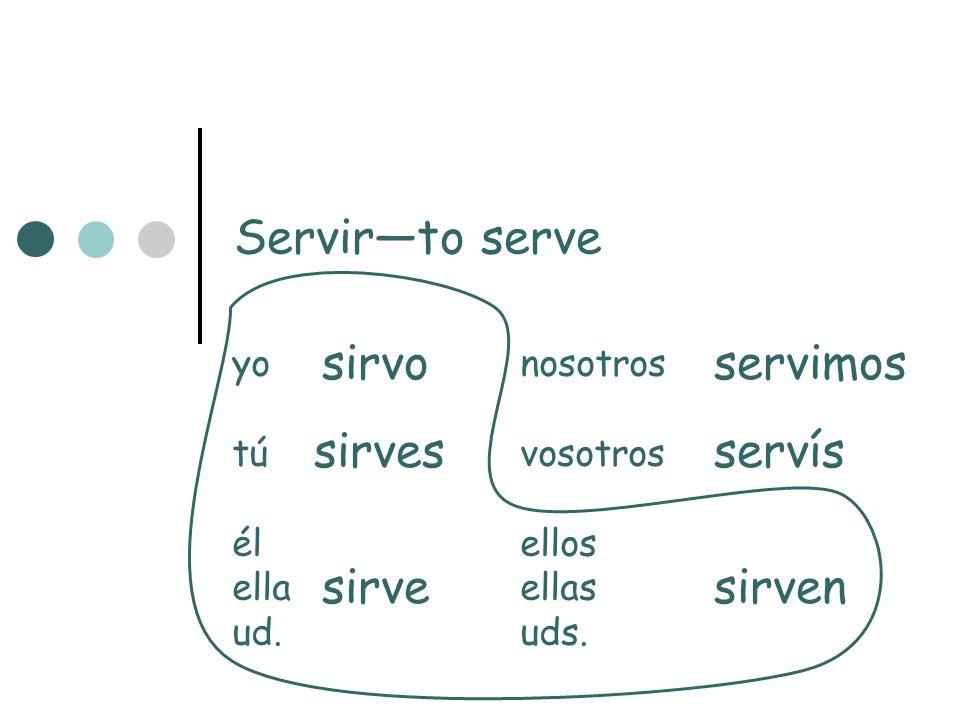 Servirto serve yonosotros túvosotros élellos ellaellas ud.uds. sirvo sirves sirve servimos servís sirven