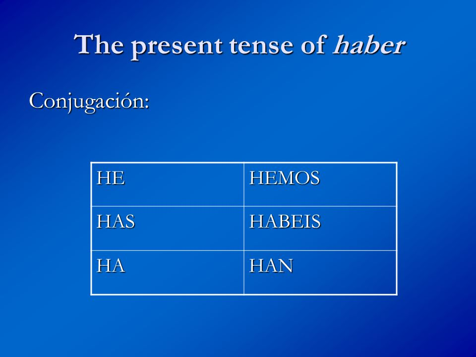 The present tense of haber Conjugación: HEHEMOS HASHABEIS HAHAN