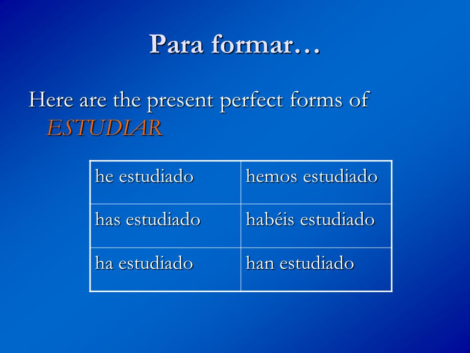 TU TURNO… he ________ hemos _______ has ________ habéis ________ ha ________ han ________ Conjuga el verbo HABLAR en el participio pasado.