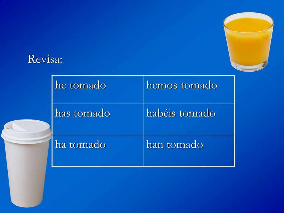 Ahora trata con un verbo ER See if you can come up with the present perfect forms for COMER and IR.