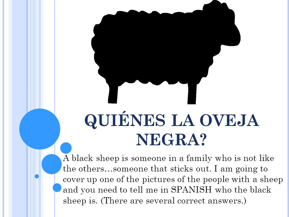 QUIÉNES LA OVEJA NEGRA? A black sheep is someone in a family who is not like the others…someone that sticks out. I am going to cover up one of the pic