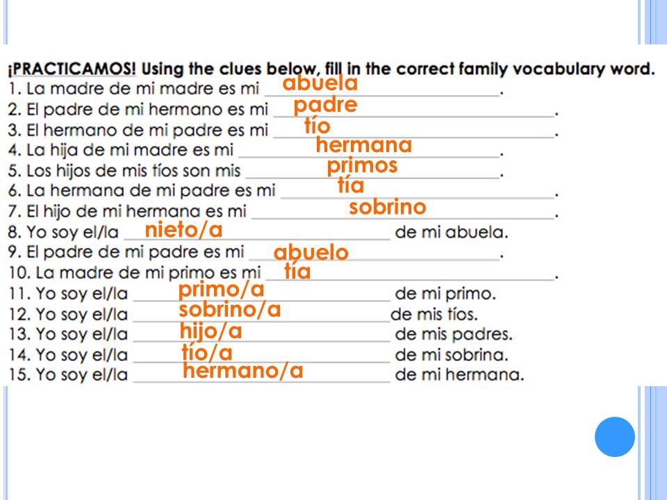 abuela padre tío hermana primos tía sobrino nieto/a abuelo tía primo/a sobrino/a hijo/a tío/a hermano/a