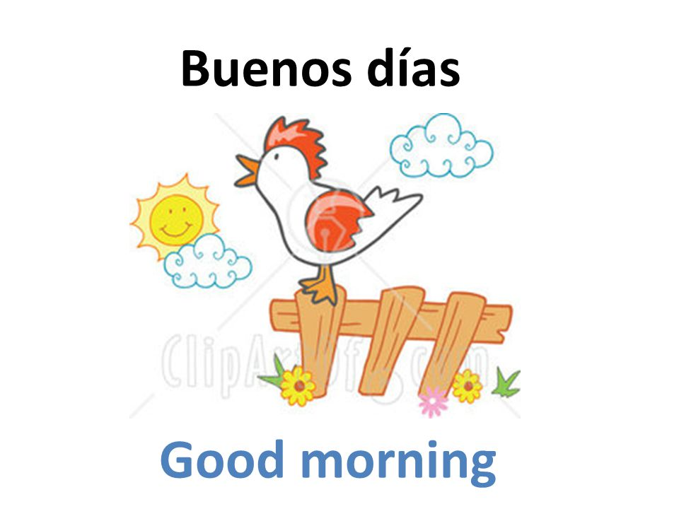 Buenos días Good morning