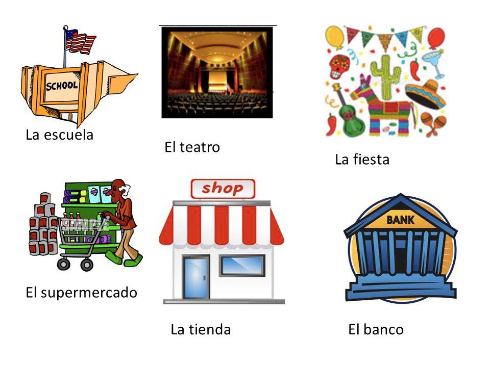La escuela El teatro La fiesta El supermercado La tiendaEl banco