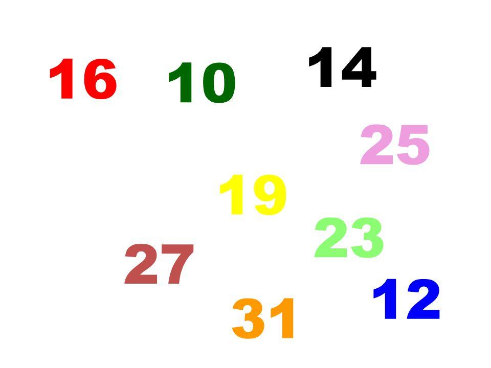 16 10 14 5 31 25 12 19 27 23