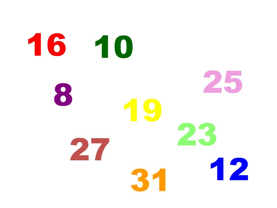 16 10 5 31 25 12 19 8 27 23