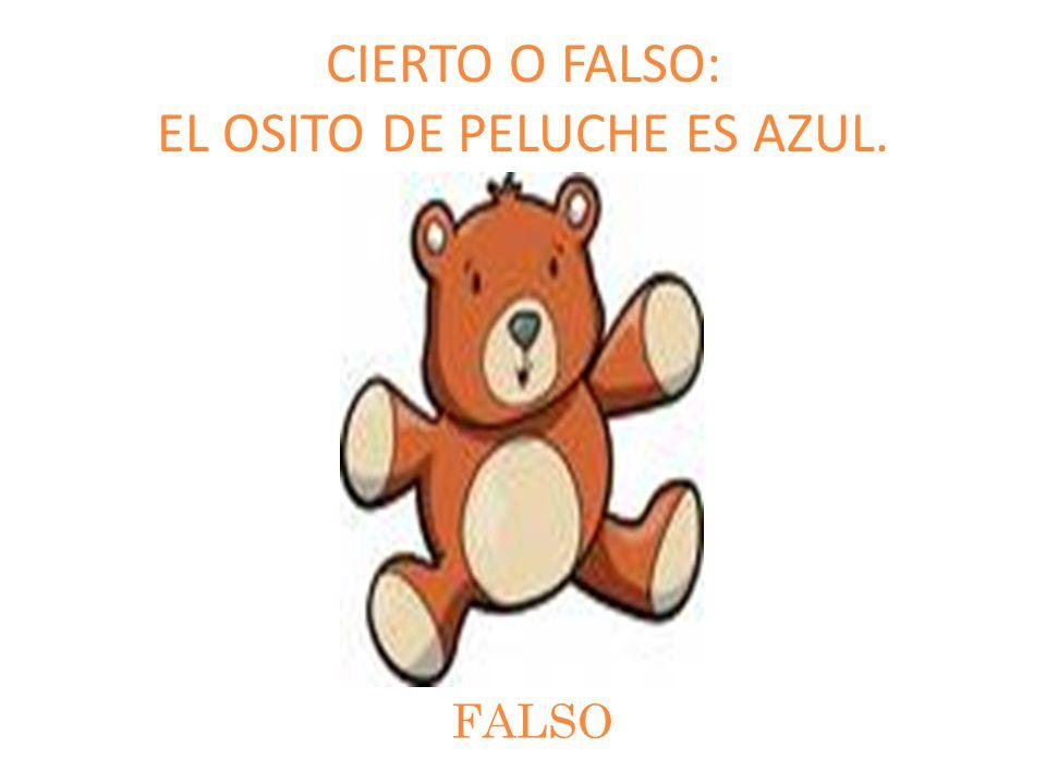CIERTO O FALSO: EL OSITO DE PELUCHE ES AZUL. FALSO