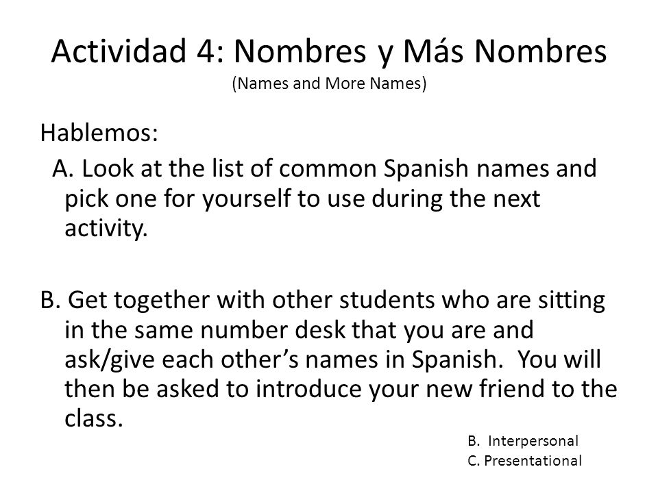 Actividad 4: Nombres y Más Nombres (Names and More Names) Hablemos: A. Look at the list of common Spanish names and pick one for yourself to use durin