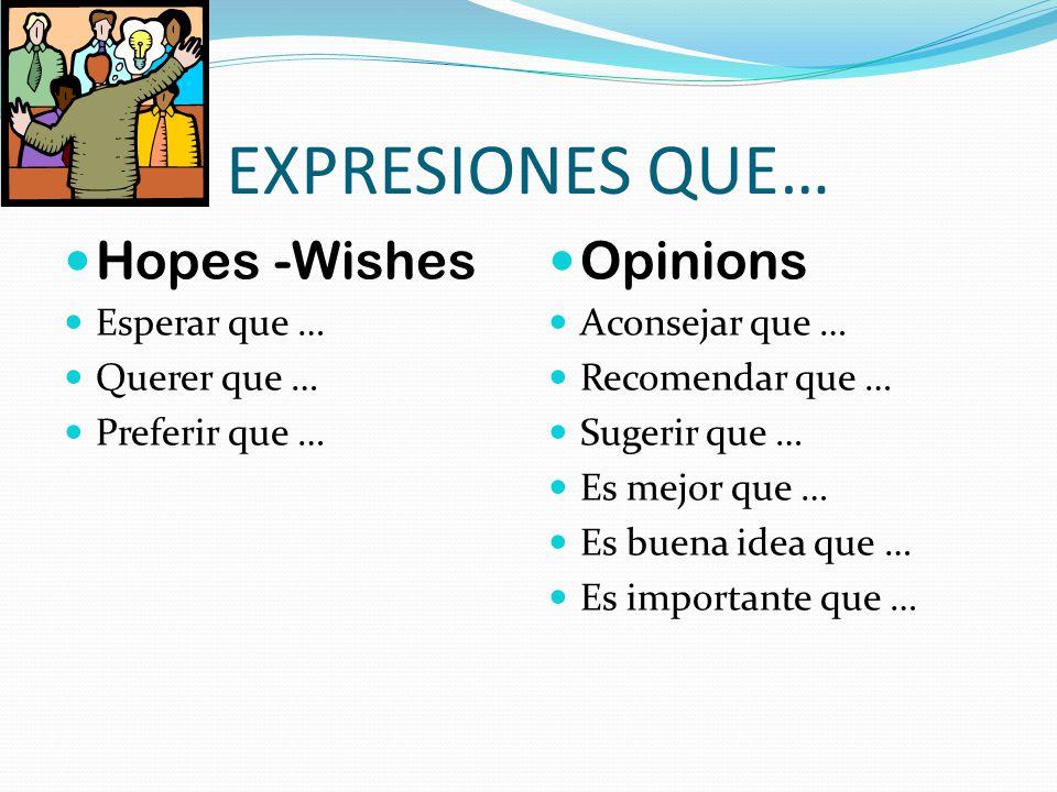 EXPRESIONES QUE… Hopes -Wishes Esperar que … Querer que … Preferir que … Opinions Aconsejar que … Recomendar que … Sugerir que … Es mejor que … Es bue