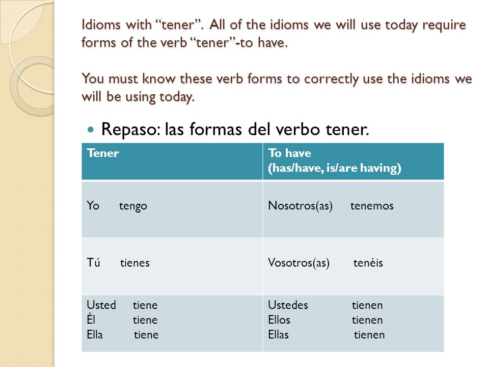 Other Idioms with Tener.