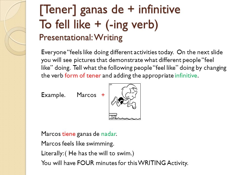 [Tener] ganas de + infinitive To fell like + (-ing verb) Presentational: Writing Everyone feels like doing different activities today.