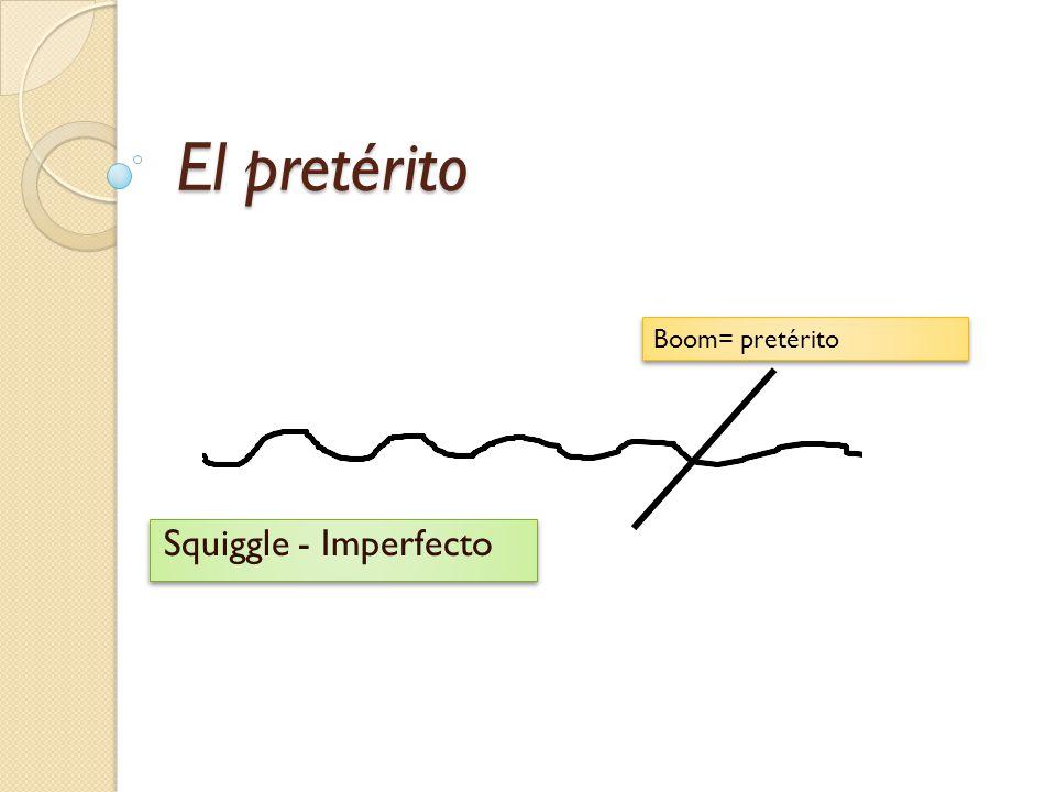 El pretérito Squiggle - Imperfecto Boom= pretérito