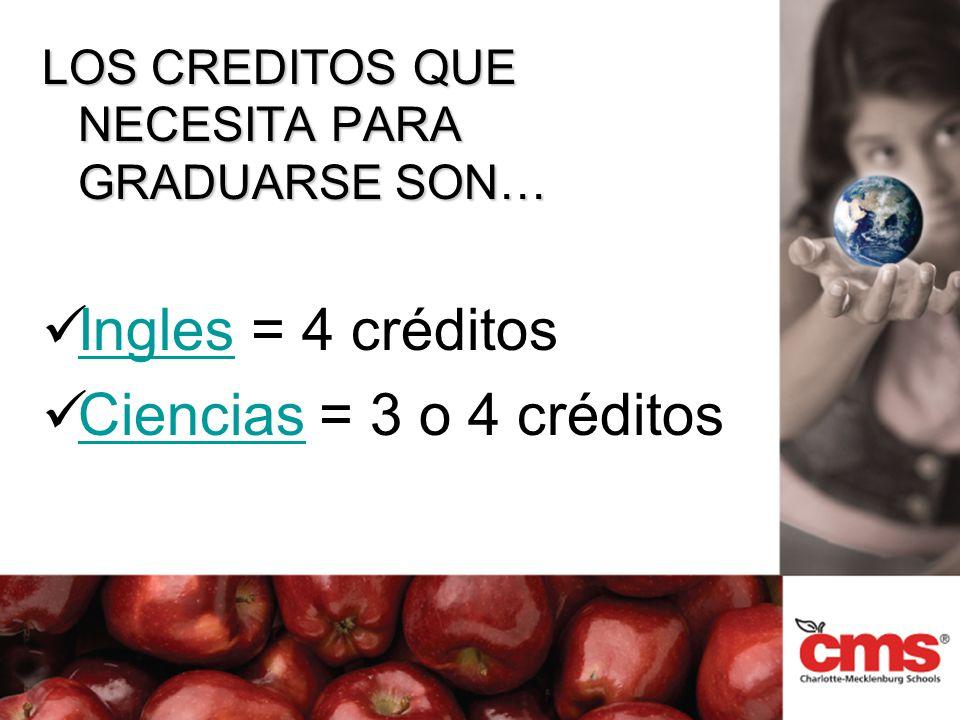 LOS CREDITOS QUE NECESITA PARA GRADUARSE SON… Ingles = 4 créditos Ingles Ciencias = 3 o 4 créditos Ciencias
